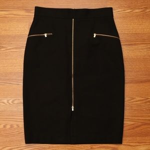 Banana Republic Zip Front Pencil Skirt Black